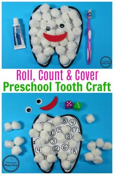 Preschool Tooth Craft - Roll, Count and Cover Tooth Activity. #dentalhealth #preschool #preschoolworksheets #preschoolcenters