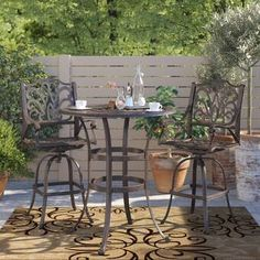 Sol 72 Outdoor™ Rockport 5 Piece Dining Set with Cushions & Reviews | Wayfair Wicker Dining Set, Dining Room Table Chairs, Accent Chairs For Living Room, Patio Dining, Bar Chairs, 3 Piece Bistro Set, 3 Piece Dining Set, Outdoor Table Settings, Outdoor Decor