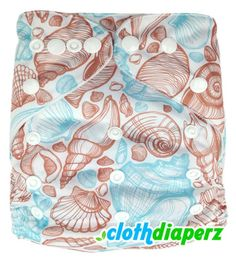 Seashells Beach Cloth Diapers for your baby! This seashell cloth diaper features a beachy two-toned sand and aqua hues for your beach bum baby! Eco friendly and cost effective cloth diapers are the best alternative to the traditional disposable diapers. These cloth diapers are whimsical and functional with tons of secure snaps to adjust the size of the diaper to ensure the most comfortable fit for your infant.