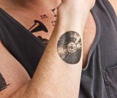 Vintage Record temporary tattoo Set of 2 por Tattify en Etsy
