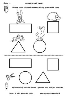 geometrické tvary - na čom sedia zvieratká - pracovný list