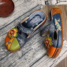f65b0d7566478b Socofy SOCOFY Vintage Colorful Leather Hollow Out Backless Flower Shoes is  cheap and comfortable. There are other cheap women flats and loafers online  ...