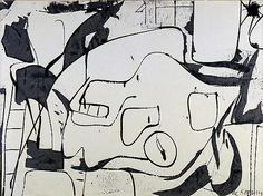 Willem de Kooning | Black and White Abstraction, 1950–51 sapolin enamel on paper, mounted on canvas, 21 1/4 x 30 1/4 inches