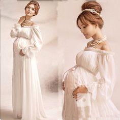White Angel Maternity Chiffon Formal Dress Photography Prop