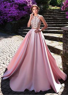 Magbridal Amazing Satin Halter Neckline A-line Prom Dresses With Beadings Royal Dresses, Gala Dresses, A Line Prom Dresses, Quinceanera Dresses, Dream Wedding Dresses, Evening Dresses, Summer Dresses, Long Dresses, Elegant Dresses