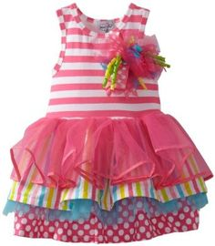 ThePass 2PC Baby Girls Cartoon Santa Xmas triped Tutu Tulle Dress Outfits Set
