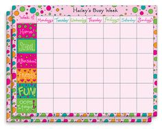 My Busy Week Activity Calendar