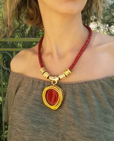 Red Statement Necklace, Leather Necklace, Gold Beads Necklace, Pendant Necklace, Stone Pendant, Red Leather Necklace, Wedding Necklace. by danielapalatnik on Etsy