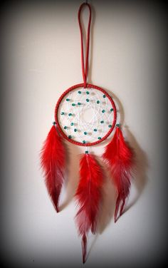 3'' Red Dream Catcher with glass beads. Car by DreamySummerNights