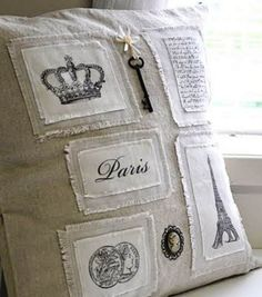 Pillow ~ inspired by Coco Chanel. Shabby and Chic. Sewing Pillows, Linen Pillows, Diy Pillows, Decorative Pillows, French Pillows, Shabby Vintage, Vintage Paris, Decoration Shabby, Pillow Fight