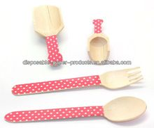eco-friendly decorated wooden utensils Pink polka dot cutlery Wooden Spoons Forks scoops shabby chic vintage Party Supplies
