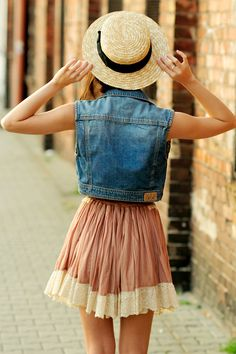 denim vest + girly skirt