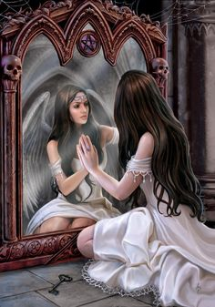 Anne Stokes well known for her stunning fantasy artwork. Based in Leeds, Yorkshire, Anne Stokes is married with a young son. Anne Stokes, Elfen Fantasy, Ange Demon, Magic Mirror, Mirror Mirror, Mirror Image, Mirror Canvas, Mirrors, Mirror Artwork