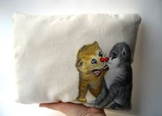 Kiss cats lovers hand painted throw pillow circus clown