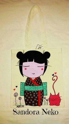 Bolsa de algodón pintada a mano, artesanía textil, ilustración  https:// www.facebook.com / sandoranekoneko http:// sandoraneko.blogspot.com.es