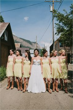 Yellow And Gray Wedding. love the look of yellow bridesmaid dresses and brown cowboy boots. Wedding Pics, Wedding Bells, Wedding Styles, Dream Wedding, Fantasy Wedding, Wedding Ideas, Wedding Stuff, Wedding Planning, Sister Wedding