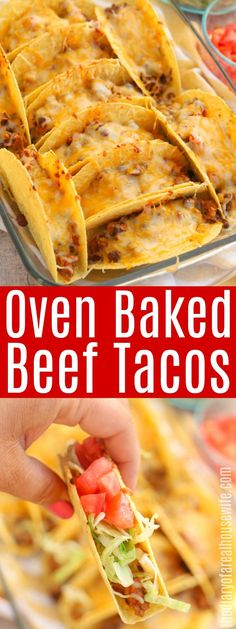 LOVE this dinner idea. These Oven Baked Beef Tacos are so good. I LOVE this dinner idea. These Oven Baked Beef Tacos are so good. I LOVE this dinner idea. These Oven Baked Beef Tacos are so good. Meat Recipes, Gourmet Recipes, Mexican Food Recipes, Dinner Recipes, Cooking Recipes, Healthy Recipes, Indian Recipes, Oven Baked Tacos, Baked Chicken Tacos