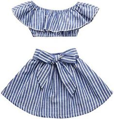 Vincent&July Girls Clothes 2Pcs Toddler Baby Girls Ruffles Off Shoulder Blue Striped Tops+Bowknot Skirt Set