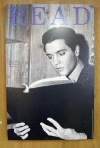 "For some reason in 1994, ALA managed to resurrect Elvis for the sake of a ""READ"" poster. It appears to be a book without a title, but he's absorbed in it in a way most celebrities in these posters aren't."