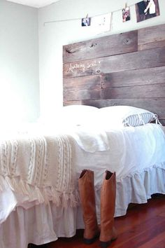 Nail salvaged wood together for a minimal but warm headboard.