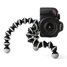 The Joby Gorillapod is the perfect tripod for photographers to bring on hikes. It's small and lightweight and can fit in your backpack.  It's bendable legs allow it to easily be wrapped around a tree or placed evenly on the ground for the perfect shot.  This unit hear is the SLR model, which can hold up to 6.6lbs. $49.95