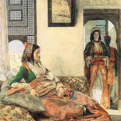Painting: An Armenian Lady in Cairo by John Frederick Lewis 1855. Lewis, John Frederick (1804–1876), painter of oriental subjects in watercolour and oil, was the eldest son of the engraver Frederick...