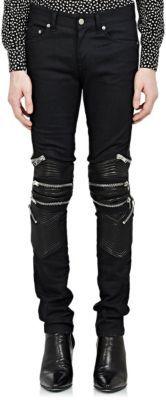 Saint Laurent Leather-Trimmed Moto Jeans at Barneys New York