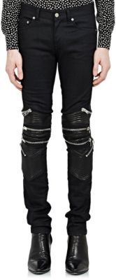 Saint Laurent Leather-Trimmed Moto Jeans at Barneys New York