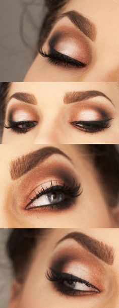 Smokey brown eyeshadow. Light beige all over, champaign in the inner corner, light brown in the crease and outer half then dark brown in outer v area.
