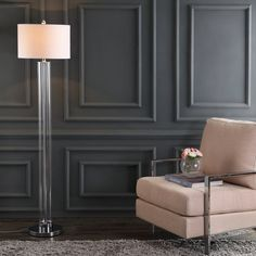 Led Floor Lamp, Modern Floor Lamps, Modern Wall Paneling, Living Room Panelling, Glass Floor Lamp, Wall Panelling, Living Room Flooring, Modern Lighting, Wall Molding