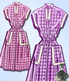 1940s Vintage Mail Order Sewing Pattern 8845 Uncut WWII Misses Dress Size 14 32B