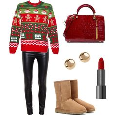 """Ugly Christmas Sweater Party"" by handbagheaven on Polyvore"