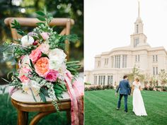 stunning summer wedding bouquets, coral pink ivory wedding flowers, garden rose ranunculus wedding, flowing silk ribbon bouquet, stunning utah weddings, payson temple wedding, coral wedding flowers utah calie rose