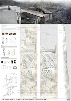 Segundo Lugar Concurso de Ideas Museo Mario Toral: BBATS + TIRADO Arqtos. Architecture Panel, Architecture Visualization, Architecture Graphics, Architecture Drawings, Architecture Design, Japanese Architecture, Design Presentation, Architecture Presentation Board, Presentation Boards
