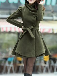 Dark-green Long Coat/ Winter Coat/Woman coat/ Long Jacket/ Long Sleeves/Golilla Collar Coat