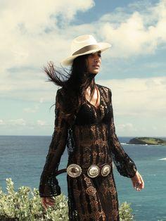 Sexy gypsy style - black crochet maxi, boho silver plated leather belt, orange Tibetan beads & cream fedora.