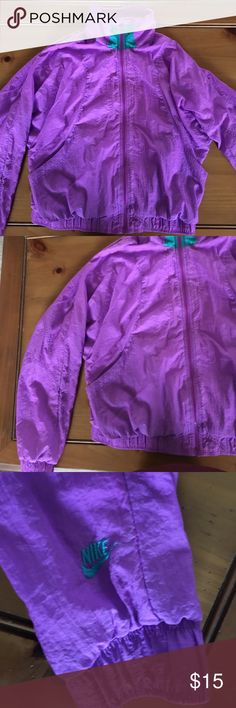Nike windbreaker rain coat! Size large! Windbreaker/raincoat from Nike! Size large! Bright purple with a teal/green accent! Perfect for a 90s costume or party! Any questions: just ask! 😊 Nike Jackets & Coats