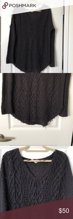 Free people Cross My Heart sweater Charcoal grey sweater Raw hemline No pulls, stains or tears Oversized fit Free People Sweaters V-Necks