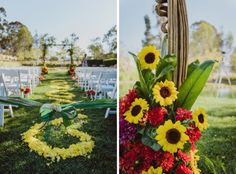Sunflower wedding ceremony decor with a pop of red!