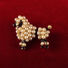 Vintage Gold Tone Pearl Emerald Black Enamel Poodle Pin MV523 We combine shipping No Question Refunds Bid $60 for free shipping. Starting at $1