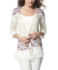 Another great find on #zulily! Simply Couture Beige Crochet Fringe Open Cardigan by Simply Couture #zulilyfinds