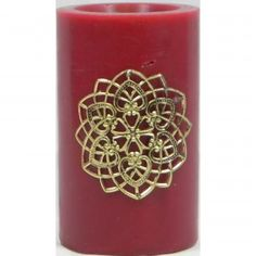 Moroccan Candle with Gold Detail Red