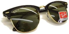 Ray Ban Clubmaster Originals Sunglasses - New 51mm lens size - Model no. 3016 - Black/Gold Color Frame with POLARIZED Ray Ban Grey/Green Lens Color Code RB3016/901/58 - Brand New from ONLINESUNSPECS - Authorized Ray Ban Dealers Ray-Ban. $168.00
