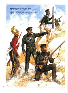 BRITISH FORCES ACROSS THE ORANGE RIVER,1845-48. 1:Private,7th Dragoon Guards,Battle of Zwartkopjes,1845.2:Officer,Cape Mounted Rifles.3:Trooper,Cape Mounted Rifles,field service uniform,1845.4:Private,Rifle Brigade,Zwartkopjes,1845.