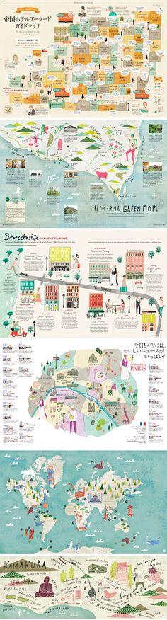 Mapa ilustrado, ¡me encantan! | Masako Kubo Leaflet Design, Map Design, Book Design, Layout Design, Dm Poster, Map Projects, Tourist Map, Photo Images, Travel Drawing