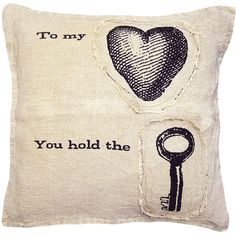 To My Heart You Hold The Key Linen Down Throw Pillow ($120) ❤ liked on Polyvore featuring home, home decor, throw pillows, pillows, accessories, fillers, random, heart throw pillow, folk art and linen throw pillows
