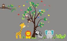 """Baby Nursery Wall Decals Safari Jungle Children's Themed 88"""" X 90"""" (Inches) Animals Wildlife: Repositionable Removable Reusable Wall Art: Better than vinyl wall decals: Superior Material Nursery Wall Decals http://www.amazon.com/dp/B00EQGFXQU/ref=cm_sw_r_pi_dp_uoQUvb13FKY8Z"""
