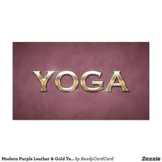 Modern Purple Leather & Gold Text Yoga Instructor Business Card