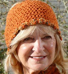 Earwarmer Orange Crochet Tennis Ski Original by hatsbyanne1942, $25.00