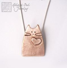 Unique Cat Jewelry, Modern Design out of Pure Bronze, Whimsical Kitty Metal Clay Jewelry, Cat Jewelry, Ceramic Jewelry, Sea Glass Jewelry, Jewelry Crafts, Jewelry Art, Silver Jewelry, Jewellery, Artisan Jewelry